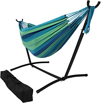 Kerrogee Brazilian-Style Cotton Double Hammock Easy Installation Two Person Adjustable Hammock Bed with Steel Stand Storage Carrying Case