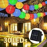 Solar Lichterkette Außen Lampions,6 Meter 30 LED 2 Modi Laterne IP65 Wasserdicht Solar Beleuchtung Aussen für Garten, Hof, Balkon, Hochzeit, Fest Deko(Bunt)