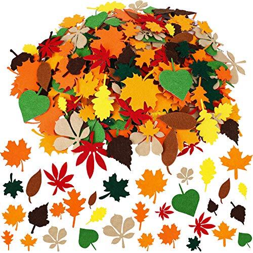 Boao 528 Pezzi Adesivi Foglia di Feltro Adesivi in Acero Assortito Decorazioni di Foglie d'Autunno per Ornamenti Artigianali per La Festa del Ringraziamento