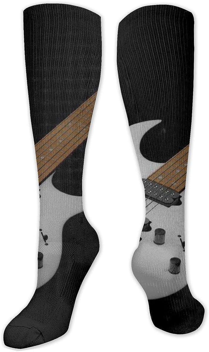 Guitars Print Knee High Socks Leg Warmer Dresses Long Boot Stockings For Womens Cosplay Daily Wear