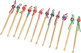 uxcell Bamboo Red Blue Doll Top Ear Earwax Curette Remover Spoon Earpick Tool 12 Pcs
