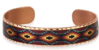Handmade Native American Copper Cuff Aztec Bracelets Southwest Geometric Design for Unisex, Aztec Jewelry