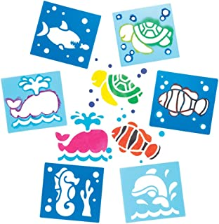 Baker Ross Sea Life Stencils for Painting (Pack of 6) AW389, Washable Plastic Paint Stencil Set for Kids