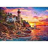 1000 Piece Puzzles for Adults-Seaside Lighthouse Puzzles for Adults 1000 Piece-Game Decompression Toys Gift Family Decoration Puzzle