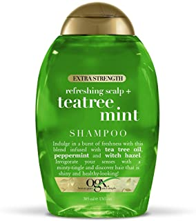 OGX Extra Strength Refreshing Scalp + Teatree Mint Shampoo, Invigorating Scalp Shampoo with Tea Tree & Peppermint Oil & Witch Hazel, Paraben-Free, Sulfate-Free Surfactants, 13 fl oz