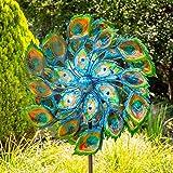 Primrose Windrad / Windspiel 'Pfau' mit Solarleuchte, Garten 191cm