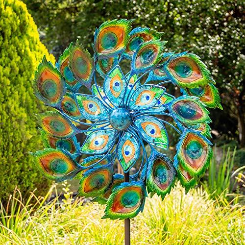 """Primrose Windrad / Windspiel """"Pfau"""" mit Solarleuchte, Garten 191cm"""