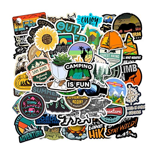 100 Pcs Outdoor Adventure Stickers Wilderness Nature Stickers Pack Hiking Camping Travel Waterproof Vinyl Stickers Decals for Water Bottle Laptop Luggage for Adults Teens Girls Boys