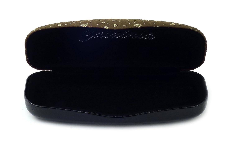 Designer Hard Eyeglass Case in Tan w/Glitter Fabric Top Solid Color Bottom