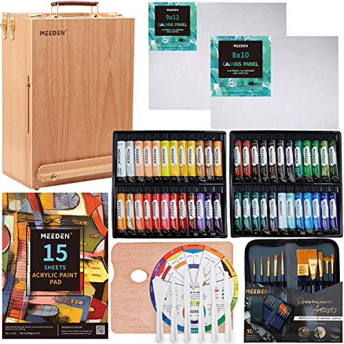 MEEDEN 70-Piece Premium Acrylic Painting Set - Solid Beech Wood Easel Box, 48×22ML Acrylic Paint Set and All Additional Supplies, Artist Painting Tools Kit for Beginning Artists, Students & Kids