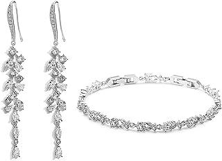 UDYLGOON Chanderlier Wedding Earrings Bracelet Jewelry Set For Bridal Bridesmaid Women Prom