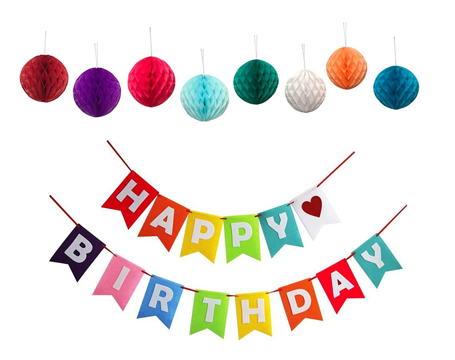It's Party Time: Happy Birthday Banner - Perfect Birthday Decorations for All Ages with Set of 8 Tissue Paper Honeycomb Balls