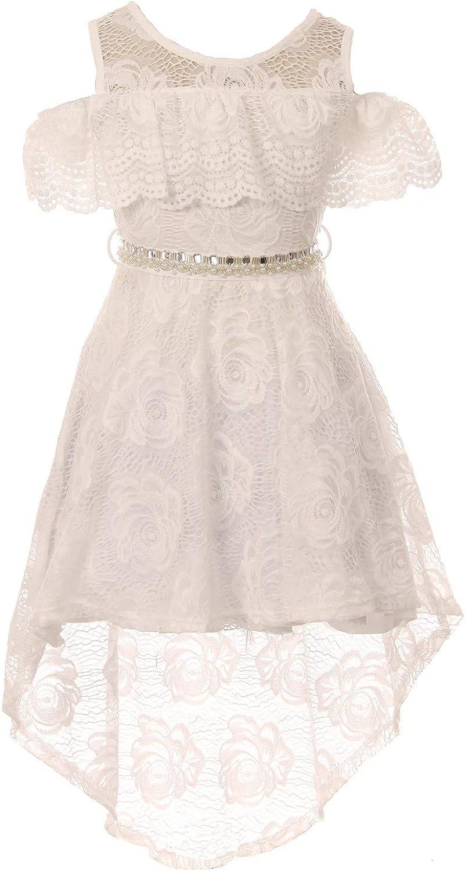 Girls Off Shoulder Hi-Lo Floral Lace Rhinestone Flower Girl Swing Summer Dress USA 4-16