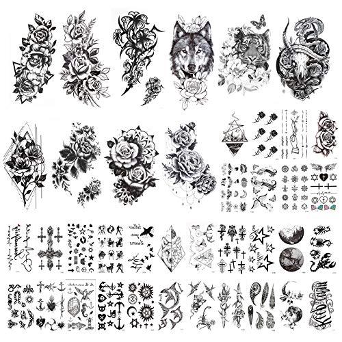 HOWAF Tatuaje temporal a prueba de agua - 40 hojas, falso negro Luna León Tigre Totem Flor Rosa tatuajes temporales para adultos, niños, hombres y mujeres Sexy Body Art Sticker Brazo Cuello Muñeca