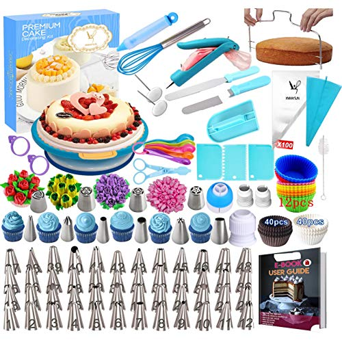 Cake Decorating Supplies Kit 285 PCS Baking Set for Beginners With Cake Turntable Stand Rotating Turntable,Russian Piping Tips Set, Cake Baking Supplies for Cake Lovers