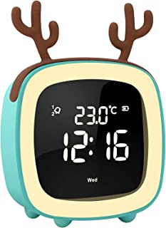 OYOCO Cute Digital Alarm Clock for Kids Women W Toddler Night Light,Dimmer,Sleep Timer,Rechargeable Battery,Indoor Temp for Bedrooms,Snooze,Simple Bedside Clocks,Unique Gifts (Blue)