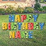 VictoryStore Custom Happy Birthday Yard Sign - Happy Birthday Letters Custom Name 26 Short Stakes Plus Short Stakes for Name Included