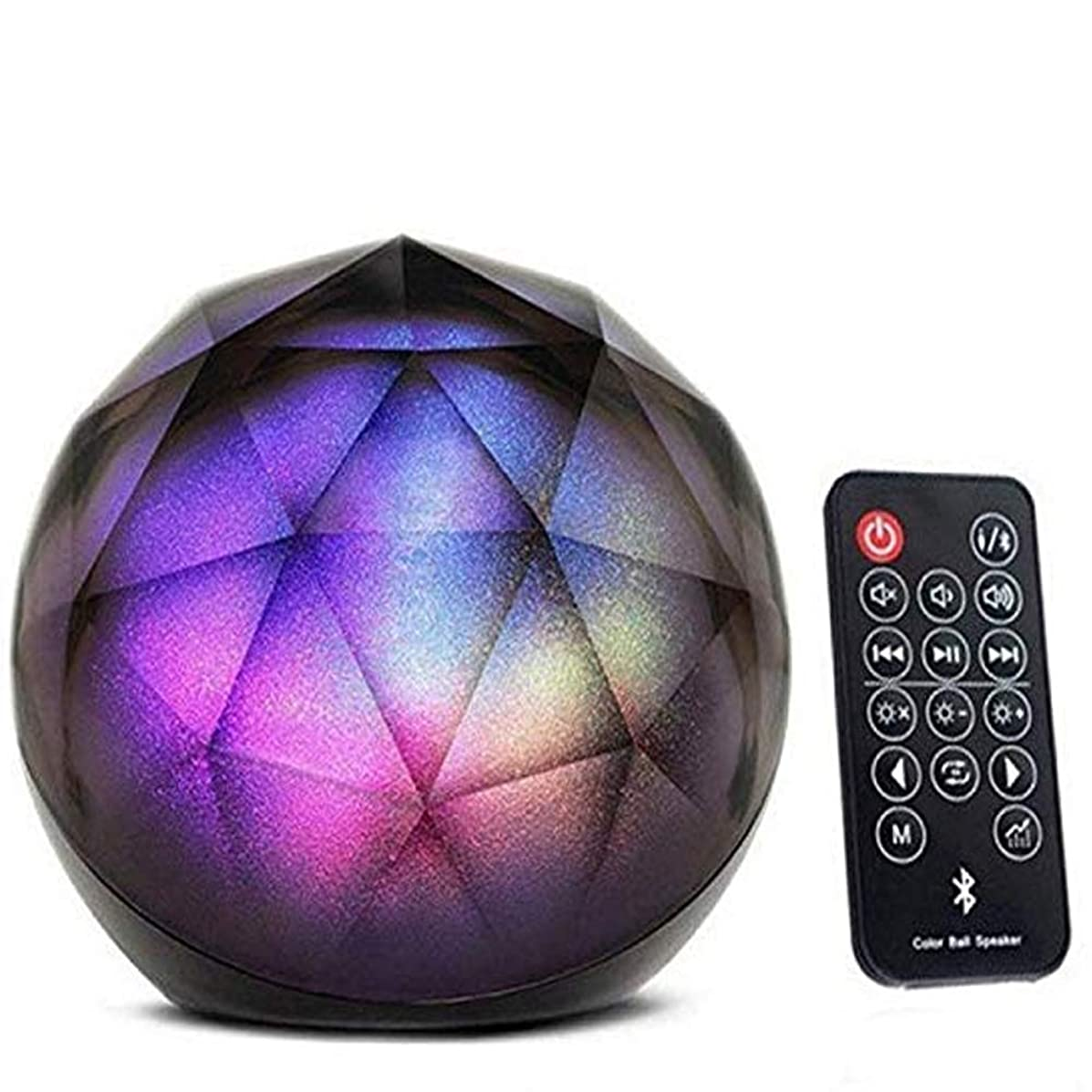 Portable Bluetooth Speakers, BOOMER VIVI Wireless Mini LED Colorful Crystal Stereo Ball Speakers with Remote Control,Party Dance Light Aux Input TF Card Music Player Com iPhone Samsung Laptop. (Black)