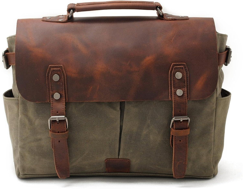 Sturdy Men's Canvas Shoulder Bags Messenger Handbag Travel Handbag Man Purse for Work Business Large Capacity (color   Green)