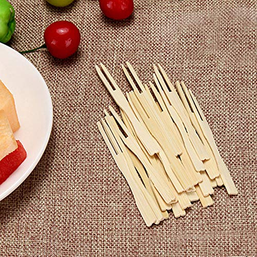 100 Pcs Bamboo Party Forks Disposable Food Picks Two Prongs Fruit Cocktail Forks Blunt-end Forks for Home and Catering Party, 3.5 Inches