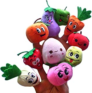 Yoyorule 10pcs Fruits and Vegetables Finger Puppet Plush Child Baby Early Education Toys Gift