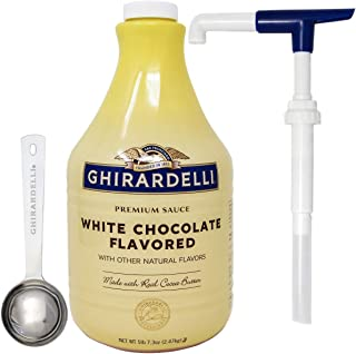 Ghirardelli White Chocolate Flavored Sauce 87.3 Ounce with Ghirardelli Pump and Spoon