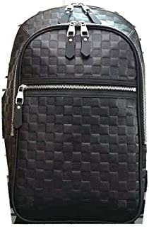 LARGE SIZE MAN BACKPACK 10.2 x 19.3 x 6.7 inches Spacious Black Checkered Leather Material Men Bag With Leather Removable Straps Stylish Comfort Luggage by JAN RYGLEWICZ