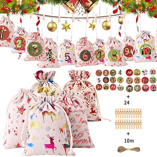 MEIRUIER 24PCS Bolsa de Tela navideña,Regalos Colgantes de Navidad de la Pared para Las Decoraciones de la Navidad,con Calendario de Adviento Casero, Bolsas Pequeñas Navidad, Bolsa de Regalo Navidad