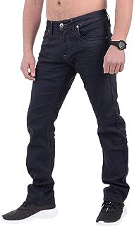 New Mens Designer Crosshatch Stretch Denim Jeans Slim Fit Curved Cut trousers