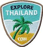 2 x Thailand Abzeichen 55 x 60 mm gestickt/ Explore Thailand – Backpacker Trekking Reise Asien / Aufnäher Aufbügler Flicken Sticker Patch für Kleidung Rucksack / Reiseführer Landkarte Karte Bildband