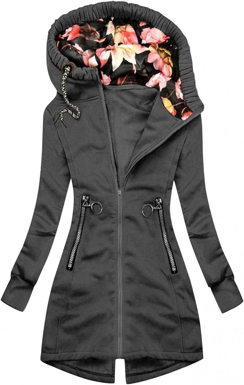 FABIURT Zip Up Sweatshirt for Women,Womens Casual Floral Print Hoodie Long Sleeve Hooded Sweatshirts Pockets Jacket Coat