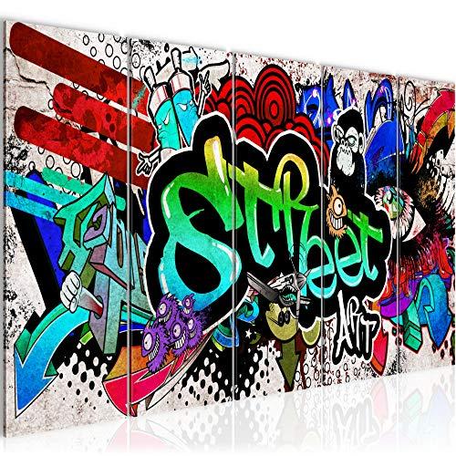 Tabla pared de la decoración pintada - 200 x 80 cm Vista de impresión en lienzo Salón Apartamento - listo para colgar - 004555a