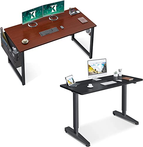 """new arrival ODK Computer popular Writing popular Desk 39 inch Teak & 48"""" Pneumatic Height Adjustable Standing Desk, Instant Adjustment, Black online sale"""