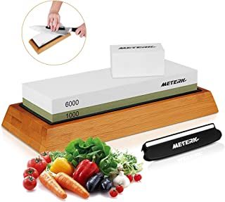 Sharpening Stone, Meterk Premium Whetstone Dual Side Grit 1000/6000 Knife Sharpener Stone with Non-slip Bamboo Base, Flattening Stone & Angle Guide, Sharpening Stone Set for Home & Kitchen