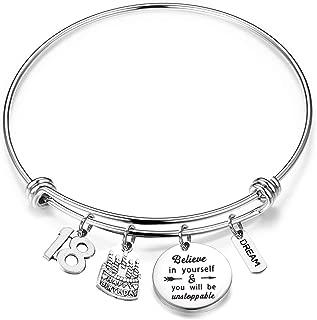 FUSTMW Birthday Bracelet 12th 13th 16th 18th Birthday Jewelry Gift Inspirational Bracelet Happy Birthday Gift for Daughter Best Friend