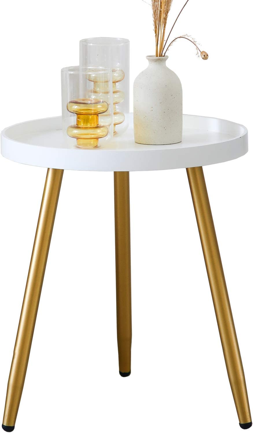 YMLHOME Round Side Table Modern Minimalism Coffee Table Nightstand Accent Table Wooden Tray End Table for Small Spaces Living Room Bedroom Office (Gold & White)