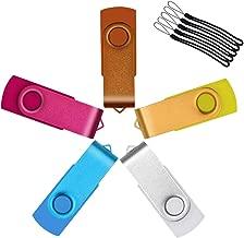 Flash Drive 256 MB USB 2.0 5 Pack Rotating 256MB Memory Stick Multicoloured Thumb Drive Bulk Pen Drives Uflatek USB Sticks for Data Storage - Orange/Yellow/White/Sky Blue/Rose Red