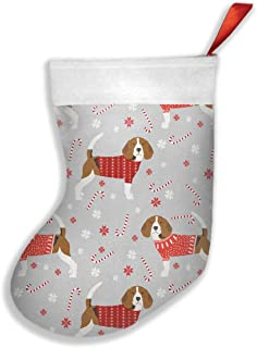 HAGBDH Candy Snowflakes Beagle Dog 16.5 Inches Santa Claus Gift Socks Christmas Holiday Personalized Socks for Decorations Gifts