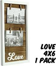 Markin Arts Rustic Series Distressed Japanese Kiri Wood Old Country Farmhouse Barnwood Reclaimed Weathered Primitive Wall Hanging Picture Photo Collage Float Frame Clothespin Jute 4x6 5x7 White Love