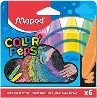 Maped Color'Peps Grosses Craies de Trottoir pour Enfant, Facile à Nettoyer - Etui de 6 Craies de Couleurs Vives Assorties