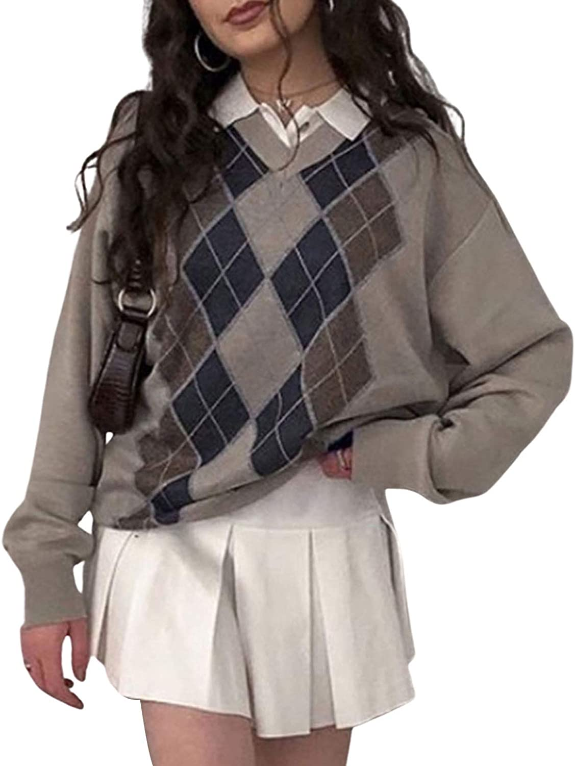 Women Argyle Plaid Sweater Pullover Long Sleeve V Neck Preppy Y2K E-Girl Knitwear Top Cute Autumn Spring Winter Clothes