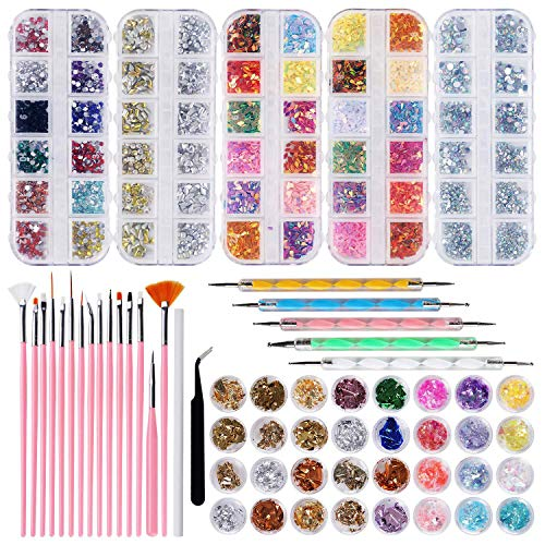 GOTONE 8420 Stücke (5 Boxen) Nagel Kunst Strasssteine Kit Nagel Strasssteine mit Nail Art Pinseln Punktstifte Nagel Folie Paillette Wachs Stift Strass Picker und Pinzette für Nageldisigns Kit