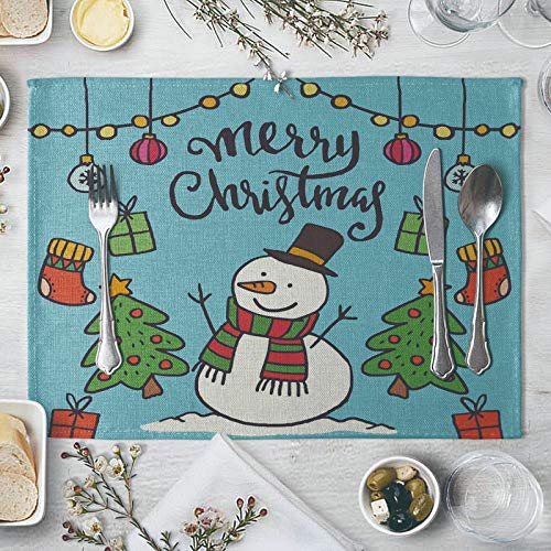 KnBoB Fall Dining Table Decor, Kitchen Table Plate Mat Red Green Blue Glitter, Cotton Linen Placemats Set of 2 Machine Washable, Cotton Linen Fall Placemats