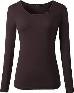 Women's Long Sleeve Round Neck Slim Fit Basic Layering T-Shirt