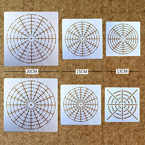 BLUGUL Mandala Schablone, Mandala Dotting Malvorlagen Schablonen, Mandala Rock Punktierung Werkzeuge, für DIY Dekor, Felsen Stein, Airbrush, Felsen und Walls Art, Netz Serie A 6 Stück