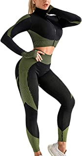 Women's 2 PCS Yoga Sports Suit Long Sleeve Front Zip Top High Waist Seamless Yoga Leggings