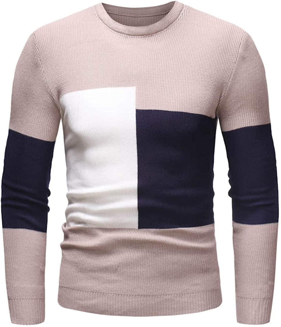 Soluo Mens Casual V Neck Flexible Knit Pullover Sweater Cotton Knitwear (Apricot,X-Large)