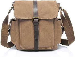 LIUFULING Men's College Briefcase Satchel Shoulder Bag Large Vintage Canvas Backpack School Laptop Bag (Color : Yellow, Size : OneSize)