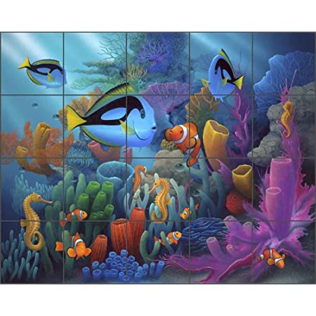 Undersea Fish Turtle Ceramic Tile Mural Backsplash 30 x 24 Traveler by Fernando Agudelo