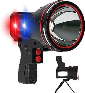ANLOOK Rechargeable Spotlight 55W LED Flashlight High Lumens 100000 Candlepower Handheld Spotlights 10800mAh Power Bank Home Security Outdoor Camping Boat Waterproof Flashlights Strobe Warning Light